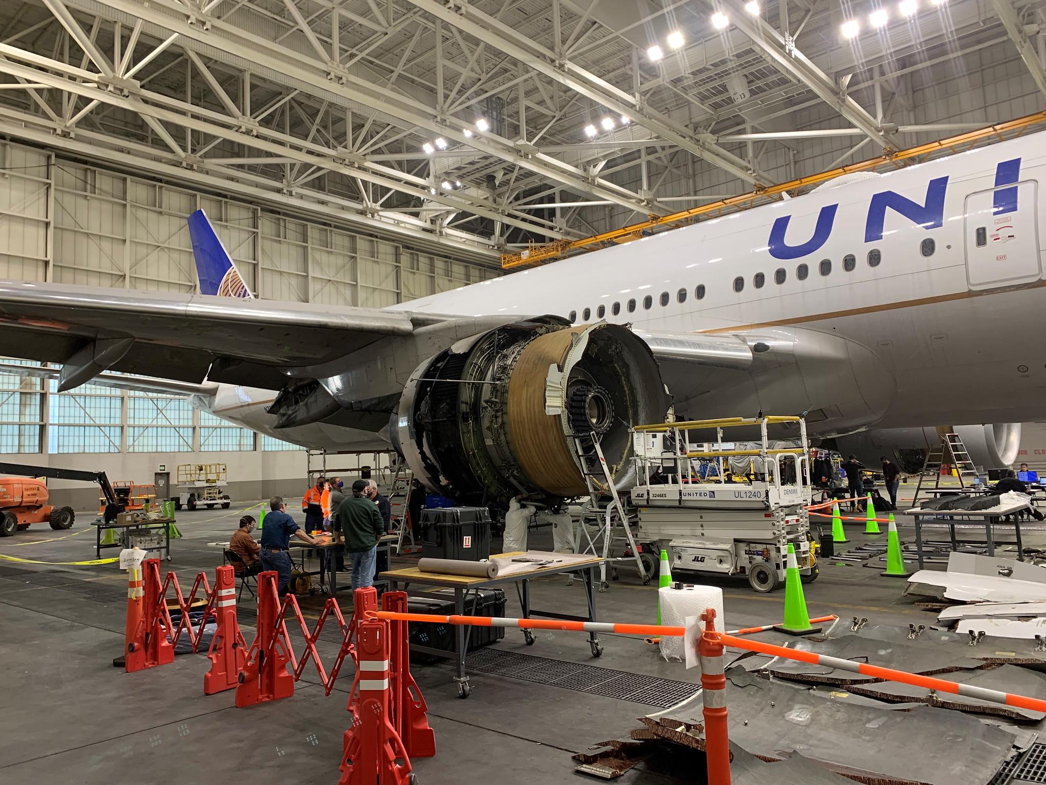 آغاز بررسی دقیق صدمات موتور هواپیمای یونایتد ایرلاینز